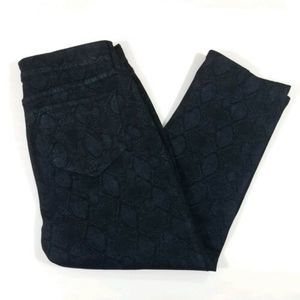 NYDJ Sheri SKINNY Metallic Print Jeans Blue Black